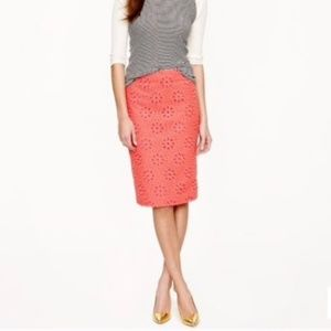 J. Crew No. 2 Pencil Skirt In Pinwheel Eyelet Sz.0